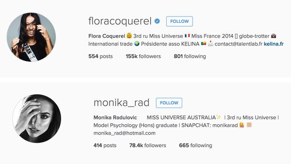 Hoa hậu Pháp và Hoa hậu Úc cùng nhận là Á hậu 3 trên dòng giới thiệu tài khoản Instagram của họ