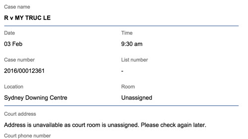 Lịch xét xử Lê Mỹ Trúc ở tòa Downing Centre