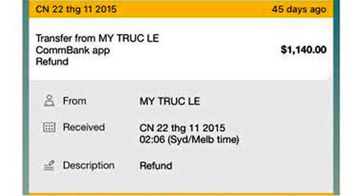 Lệnh chuyển tiền trả lại cho khách hàng của Vi Tran có tên My Truc Le