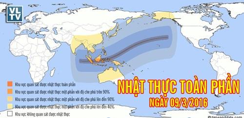 Các khu vực có thể quan sát hiện tượng nhật thực lần này. (Nguồn: vatlythienvan.com).