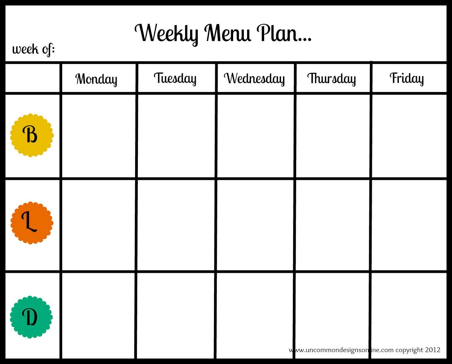 Weekly Menu Plan Uncommon - Một giải pháp hoàn toàn mới giúp bạn lên thực đơn bữa ăn để cắt giảm chi tiêu