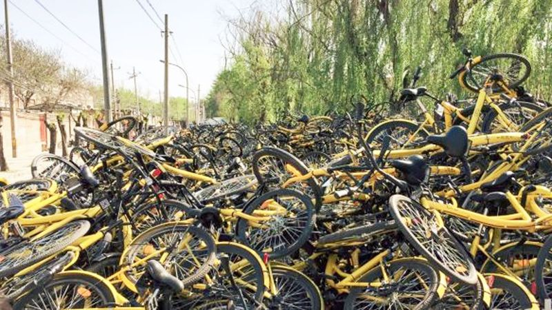 Một đống xe đạp Obo ở Bắc Kinh.