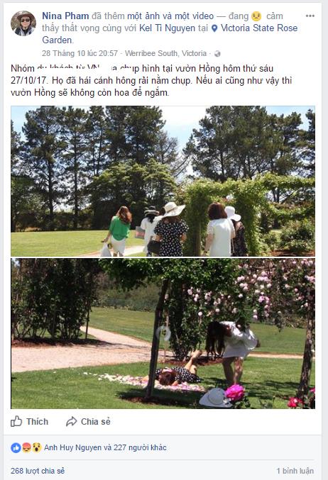 Status từ Facebook Nina Pham 1 - VIDEO: 'Ngắm không thỏa mãn, bẻ xuống mới chịu' nhóm người Việt bị lên án khi thăm vườn hồng Victoria State Rose Garden