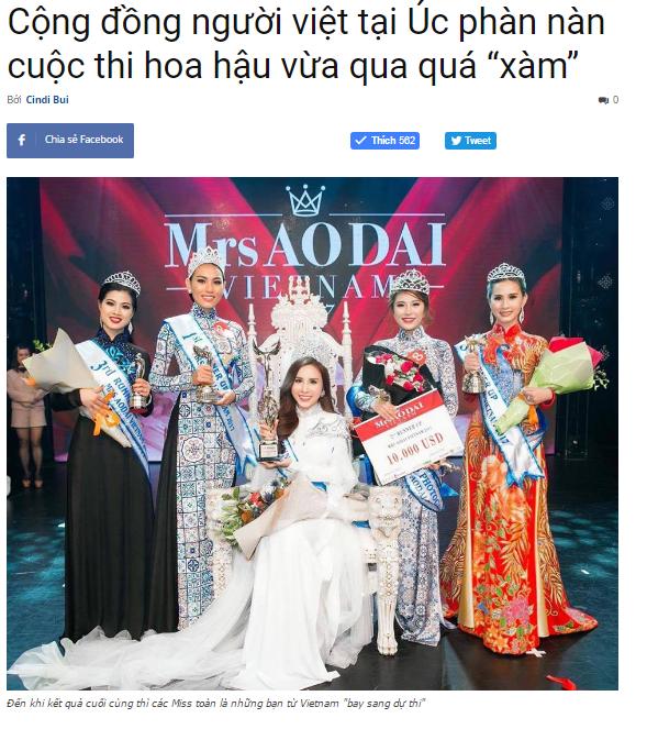 """Cộng đồng người việt tại Úc phàn nàn cuộc thi hoa hậu vừa qua quá """"xàm"""" - Tổng hợp những tin tức NỔI BẬT nhất năm 2017 tại Úc (phần 1)"""