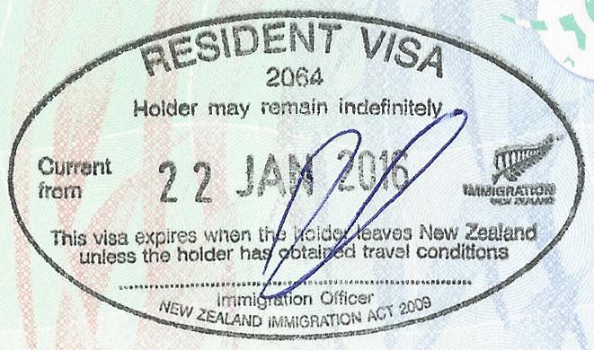 New Zealand Resident Visa Stamp on Australian Travel Document - Chi tiết về thường trú Úc và quốc tịch Úc?