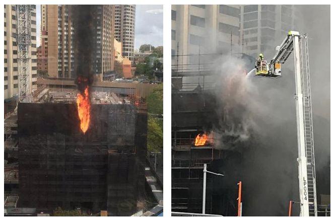 toa nha 10 tang dang xay o cbd sydney chim trong lua 2 - Tòa nhà 10 tầng đang xây dở ở CBD Sydney chìm trong lửa