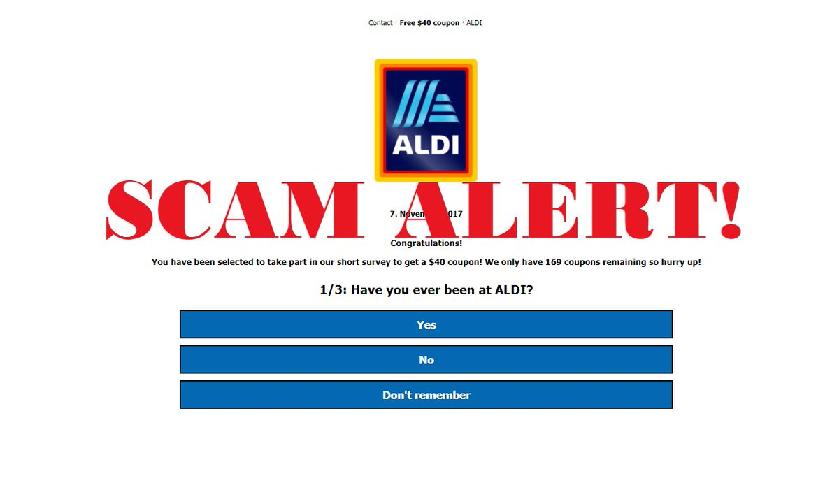 ALDI coupon scams