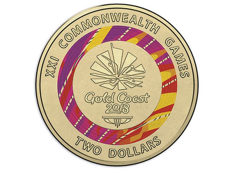 http 2F2Fprod.static9.net .au2F 2Fmedia2F20182F032F142F142F432F10001 D Reverse of the Gold Coast 2018 Commonwealth Games 7 Coin Collection 2018 2 Coloured Uncirclated Coin 3 - Úc: Phát hành ba đồng xu mệnh giá $2 chào mừng Commonwealth Games 2018