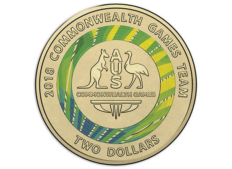 http 2F2Fprod.static9.net .au2F 2Fmedia2F20182F032F142F142F432F10001 D Reverse of the Gold Coast 2018 Commonwealth Games 7 Coin Collection 2018 2 Coloured Uncirculated Coin 5 - Úc: Phát hành ba đồng xu mệnh giá $2 chào mừng Commonwealth Games 2018