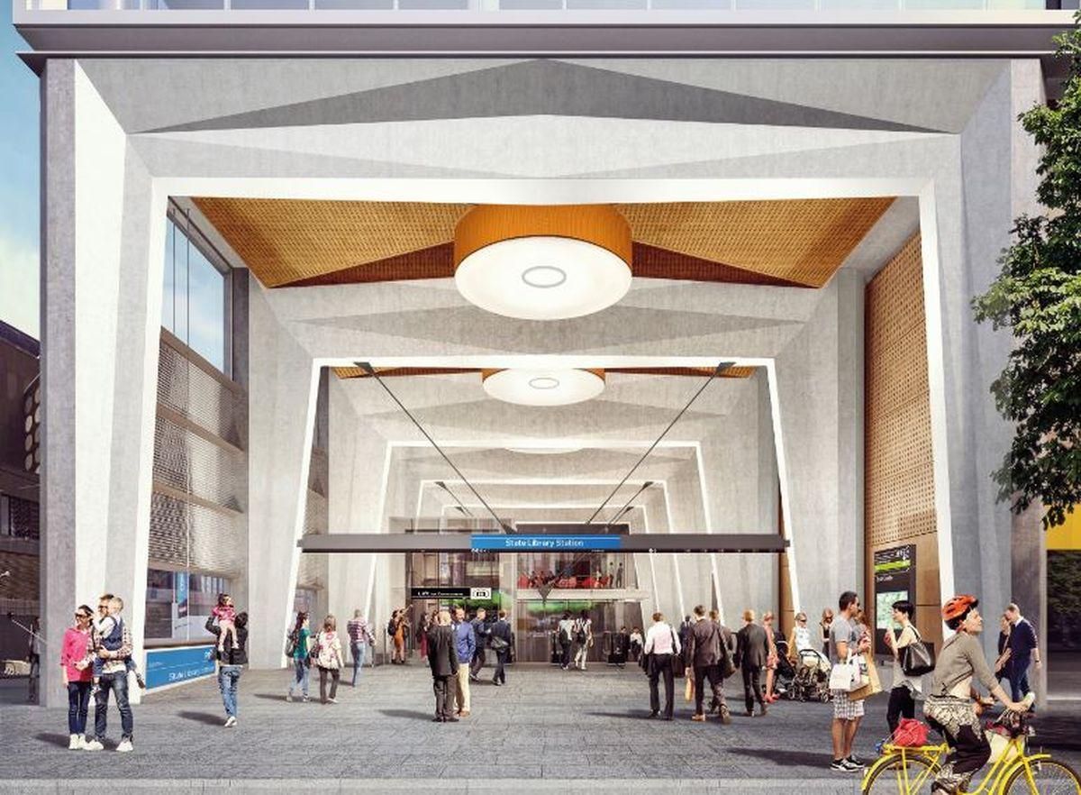 State Library stations Swanston Street entrance - Hình ảnh thiết kế bên trong Metro Tunnel được tiết lộ