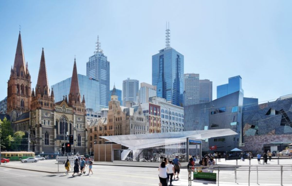 Town Hall station's Fed Square entrance