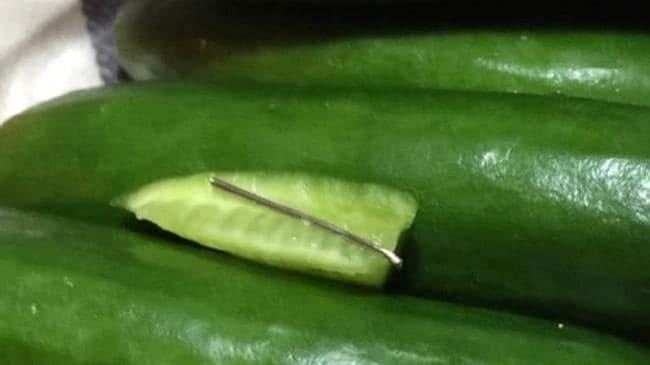 needle inside cucumber